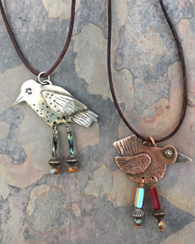 hand-crafted necklace of birds