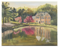 Painting of a house by the river